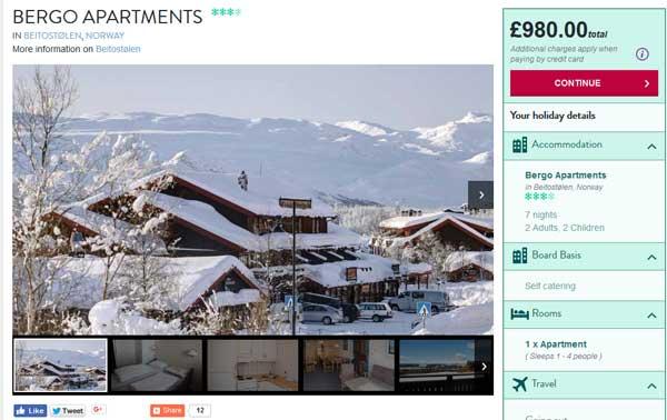Screenshot Bergo Apartments Beitostølen Crystal Ski