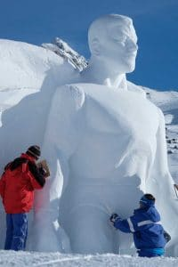 Superheroes in Ischgl, Superman snow sculpture