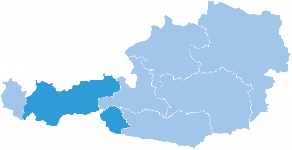 map of Tyrol ski region in Austria