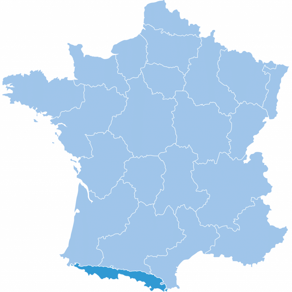 Map of Pyrenees in France