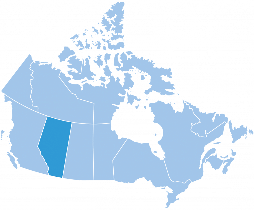 Map of Alberta ski region Canada