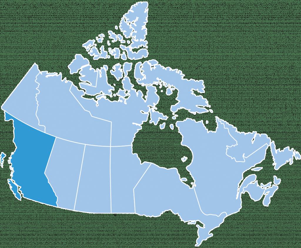 Map of British Columbia ski region Canada