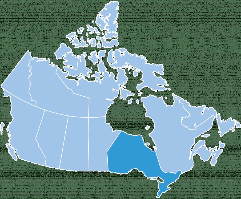 Map of Ontario ski region Canada