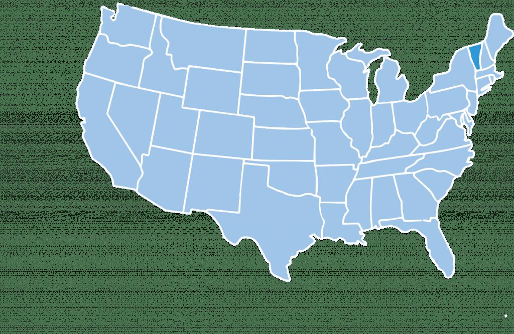Map of Vermont ski region USA