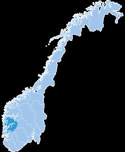 Map of Hordaland ski region Norway